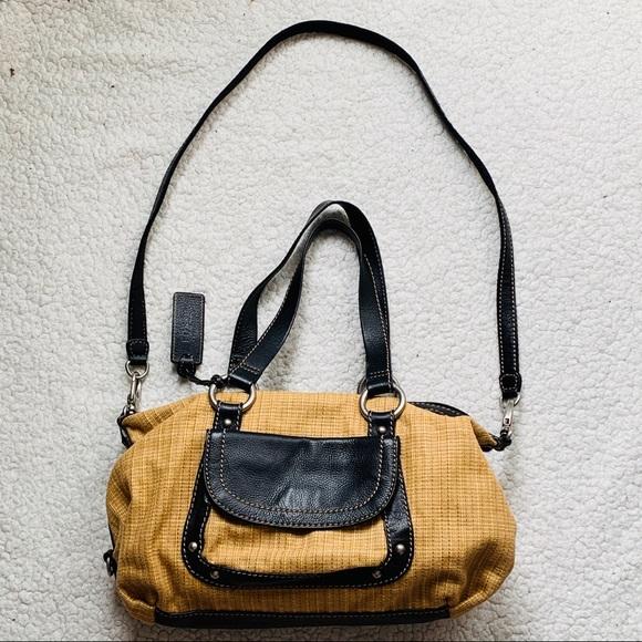 Fossil Handbags - Fossil Vintage Woven/Black Leather Trim Satchel